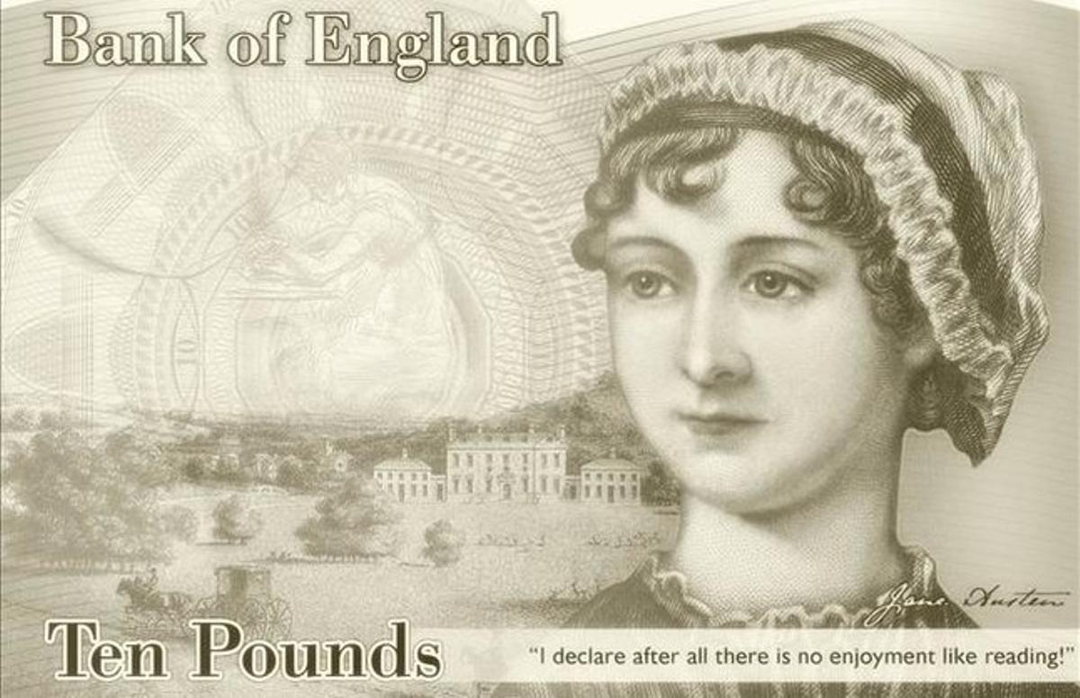 Billete de 10 librascon el rostro de la novelista británica Jane Austen.