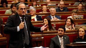 Torra: Esta tarde, en el Clásico, la gente se expresará con libertad, tranquilamente, y el Barça ganará.
