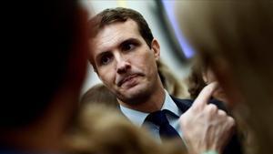 Pablo Casado, en una imagen del día 19, en los pasillos del Congreso.