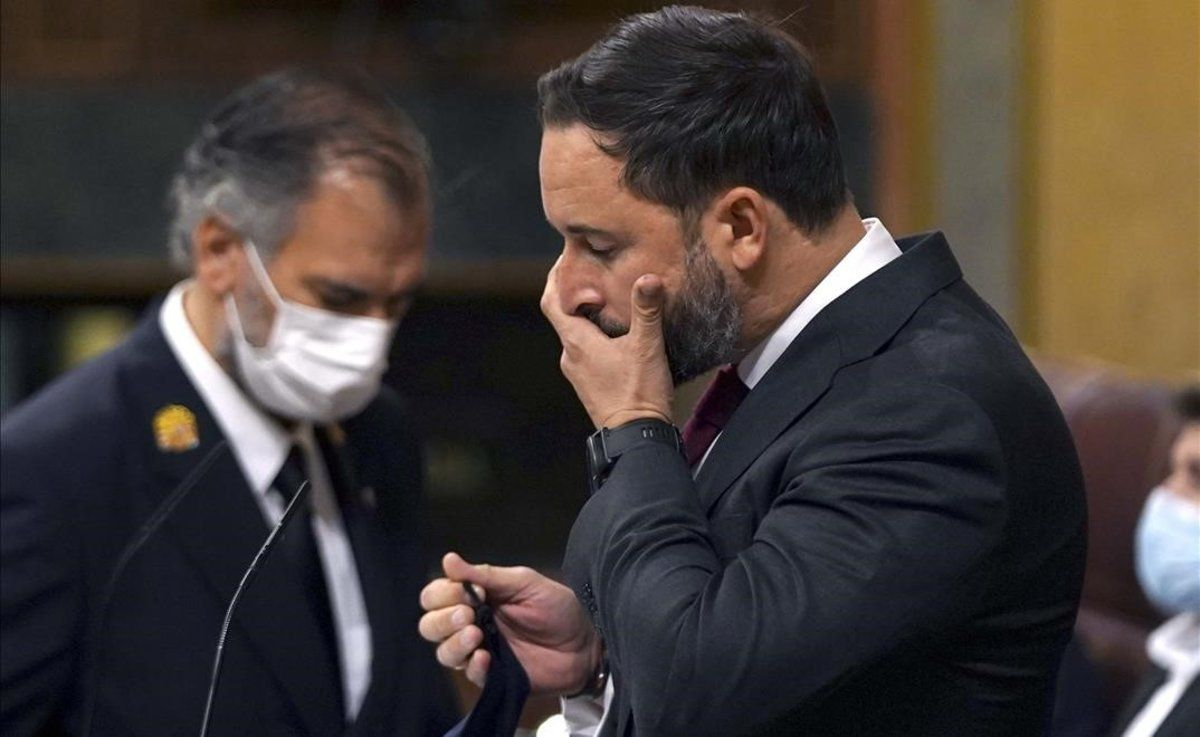 Santiago Abascal, durante la moción de censura.