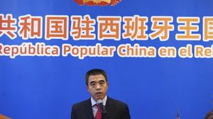 Encargado de Negocios de la Embajada de China en España, Yao Fei, en una rueda de prensa