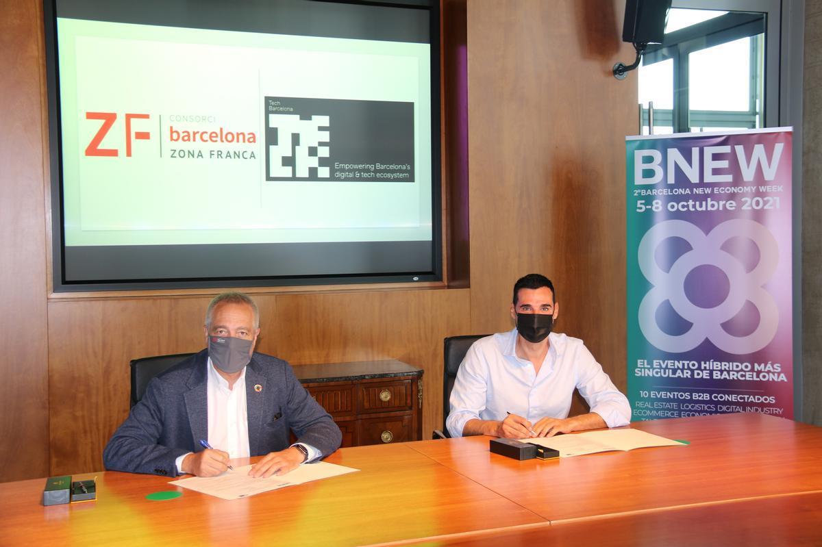 Pere Navarro, delegado especial del Estado en el Consorci de la Zona Franca de Barcelona y presidente de BNEW y Miquel Vicente, presidente de Tech Barcelona
