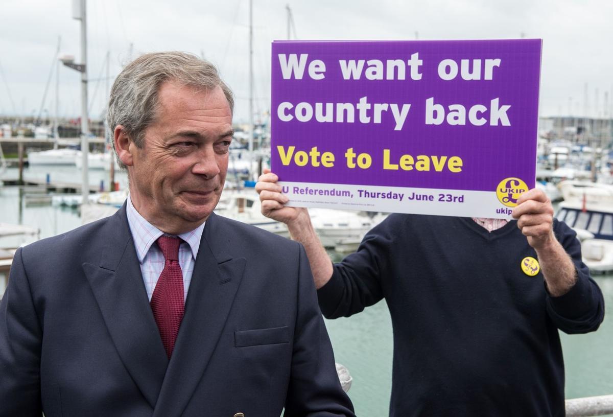 Nigel Farage, en plena campaña a favor del Brexit.