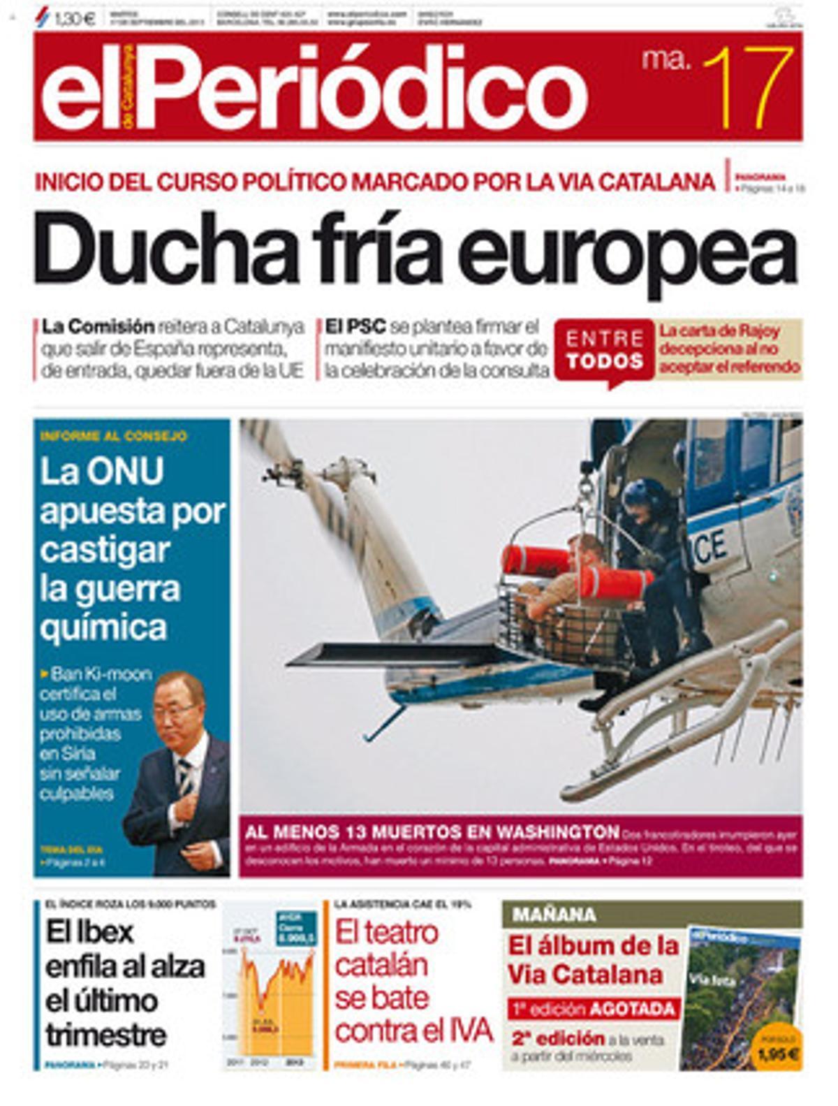 La portada de EL PERIÓDICO (17-9-2013).