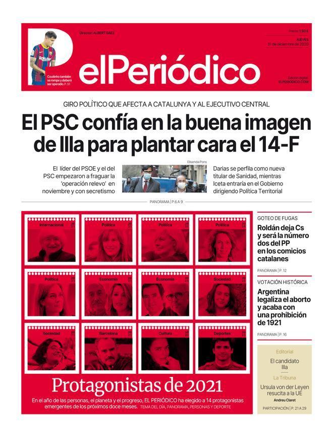La portada de EL PERIÓDICO del 31 de diciembre del 2020 y 1 de enero del 2021.
