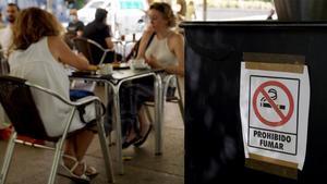 Cartel de prohibido fumar en la terraza de un bar de Madrid.