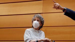 La administradora provisional única de RTVE, Rosa María Mateo, durante su comparecencia ante la comisión mixta de control parlamentario, el pasado 28 de mayo en el Senado.