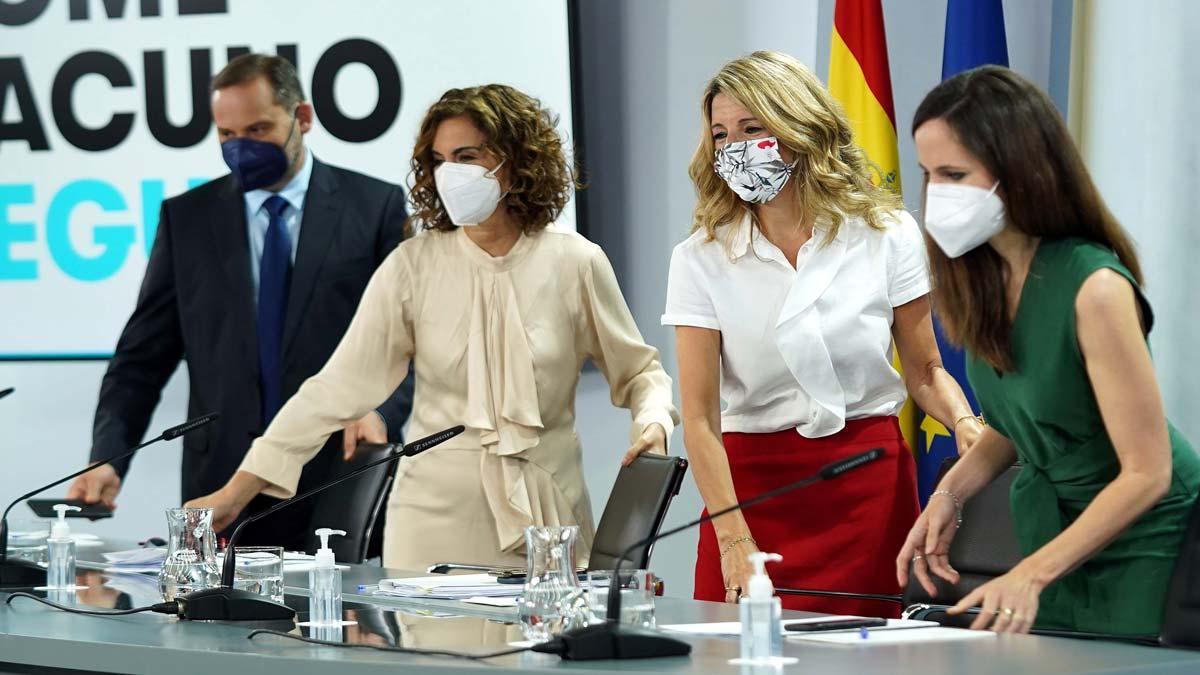 José Luis Ábalos, María Jesús Montero, Yolanda Díaz y Ione Belarra,en la rueda de prensa posterior al Consejo de Ministros de este 8 de junio, en la Moncloa.
