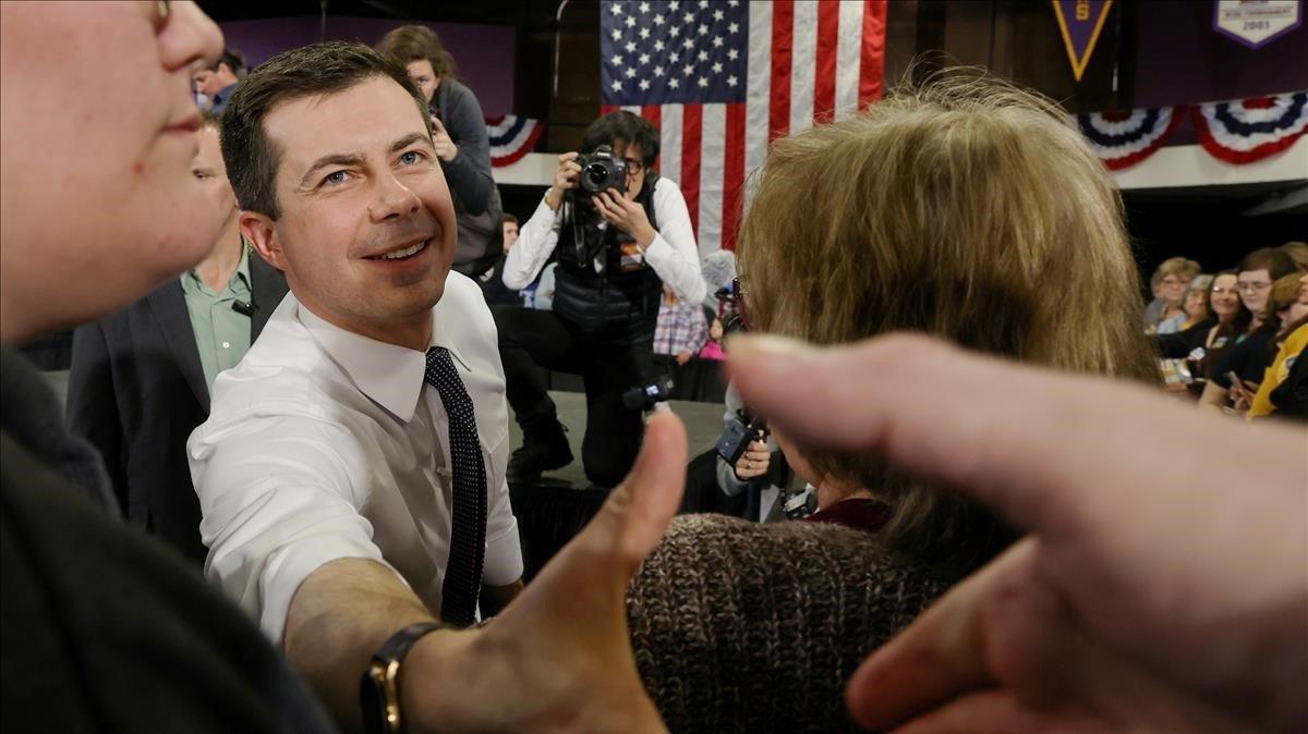 Pete Buttigieg en un acto electoral el pasado 1 de febrero en Dubuque, Iowa.