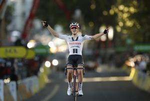 Cycling - Tour de France - Stage 14 - Clermont-Ferrand to Lyon - France - September 12, 2020. Team Sunweb rider Soren Kragh Andersen of Denmark  crosses the finish line REUTERS/Stephane Mahe