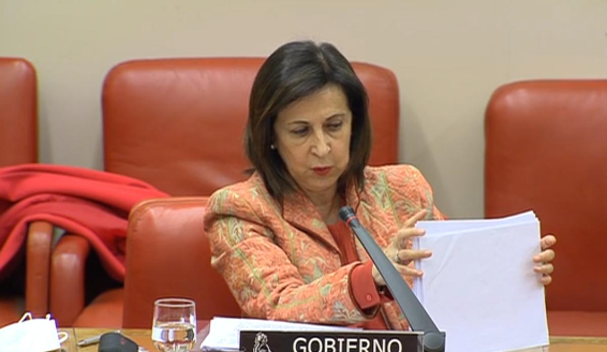 Margarita Robles, ante la Comisión de Defensa del Congreso.