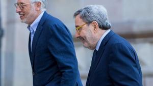 Narcis Serra, entrando el 16 de octubre en la Audiencia de Barcelona, donde se celebra el juicio.