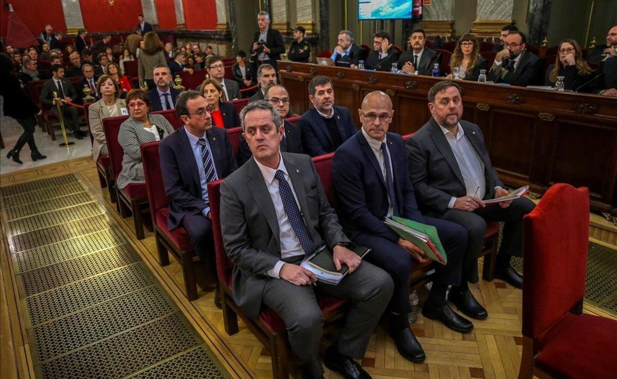Los líderes independentistas acusados por el 'procés', en el juicio que se sigue en el Tribunal Supremo.