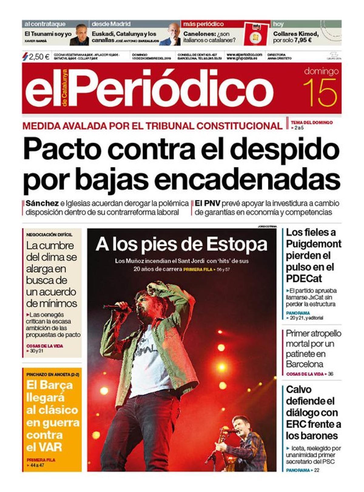 La portada d'EL PERIÓDICO del 15 de desembre del 2019