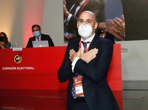 Luis Rubiales tras su reelección como presidente de la RFEF.