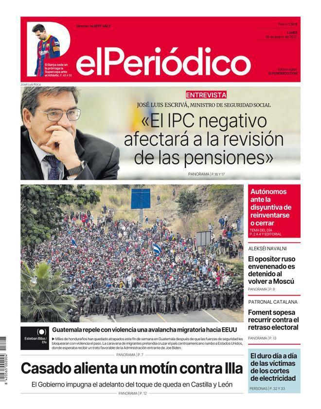 La portada de EL PERIÓDICO del 18 de enero de 2021