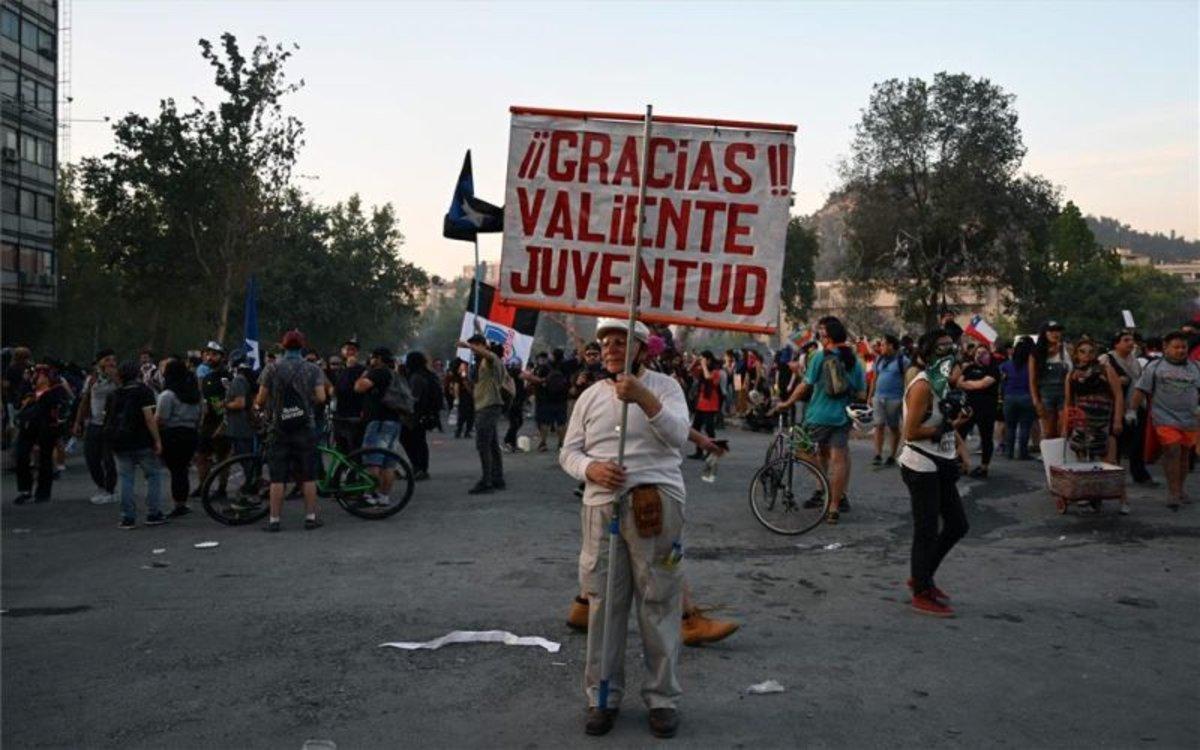 Protestas sociales en las calles de Chile.