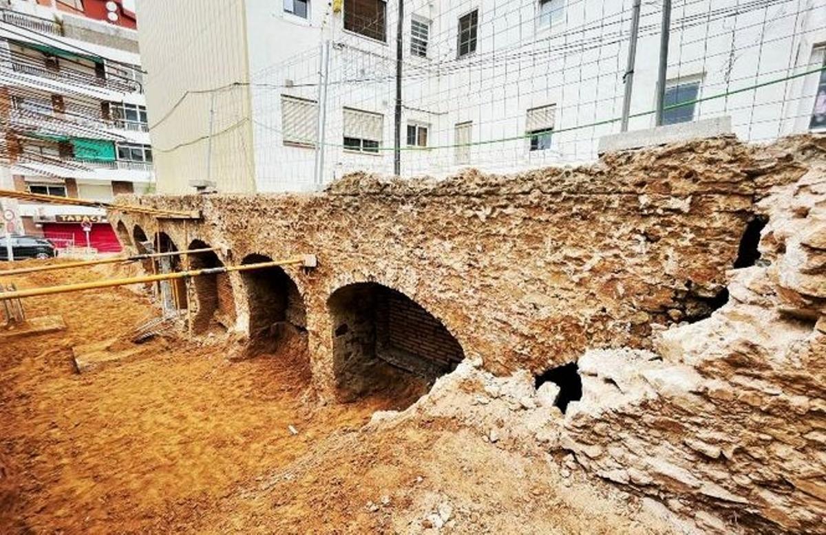 Espacio arqueológico romano hallado en Badalona.