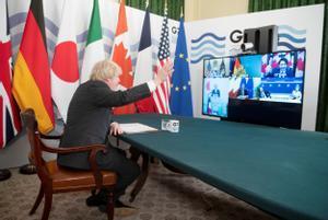 El primer ministro británico, Boris Johnson, preside la reunión del G-7 celebrada por vía telemática este viernes.
