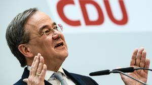 El líder de la CDU, Armin Laschet, durante su comparecencia ante los medios de este lunes.
