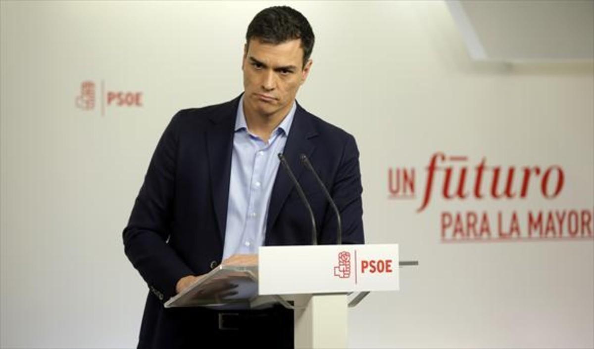 El líder del PSOE, Pedro Sánchez, el pasado día 7, en una rueda de prensa.