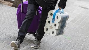 Compra de papel higiénico durante el confinamiento.