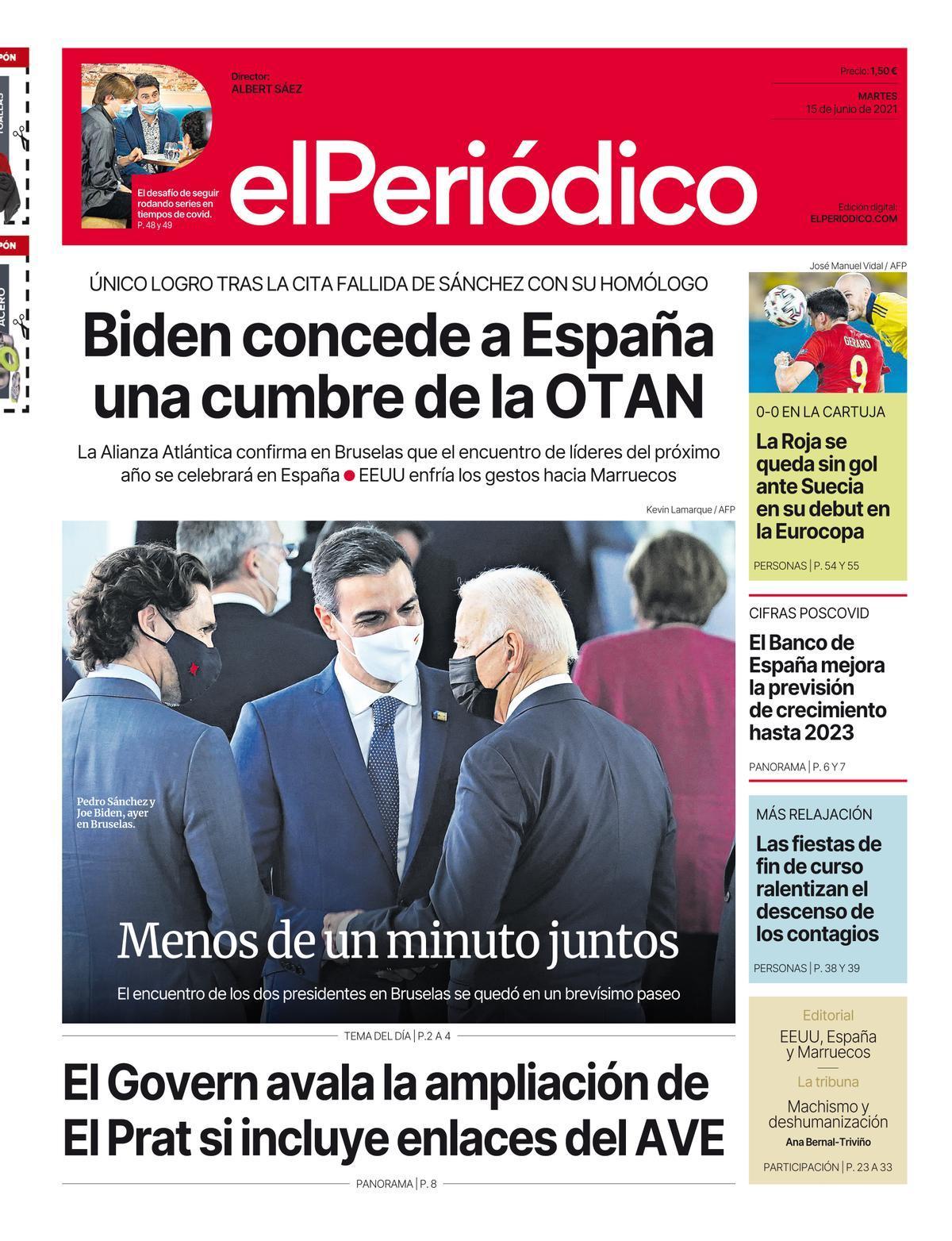 La portada de EL PERIÓDICO del 15 de junio de 2021.