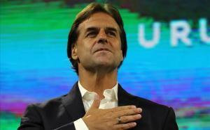 Luis Lacalle Pou, durante una ceremonia tras la segunda vuelta de las elecciones uruguayas.