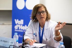 GRAFCAT8911. BARCELONA (ESPAÑA), 02/07/2020.- La jefa de Epidemiología, Magda Campins, durante la presentación este jueves de un estudio que afirma que un 70 % de los residentes y un 56 % de las trabajadoras infectadas por SARS-CoV-2 en los geriátricos son asintomáticos, según este estudio hecho en 69 residencias, con una muestra de casi 6.000 personas.EFE/ Marta Pérez