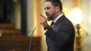Santiago Abascal, en un momento de su intervención en el Congreso de los Diputados, esta mañana