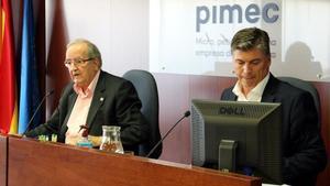 El presidente de Pimec, Josep González (izquierda) y el secretario general, Antoni Cañete.