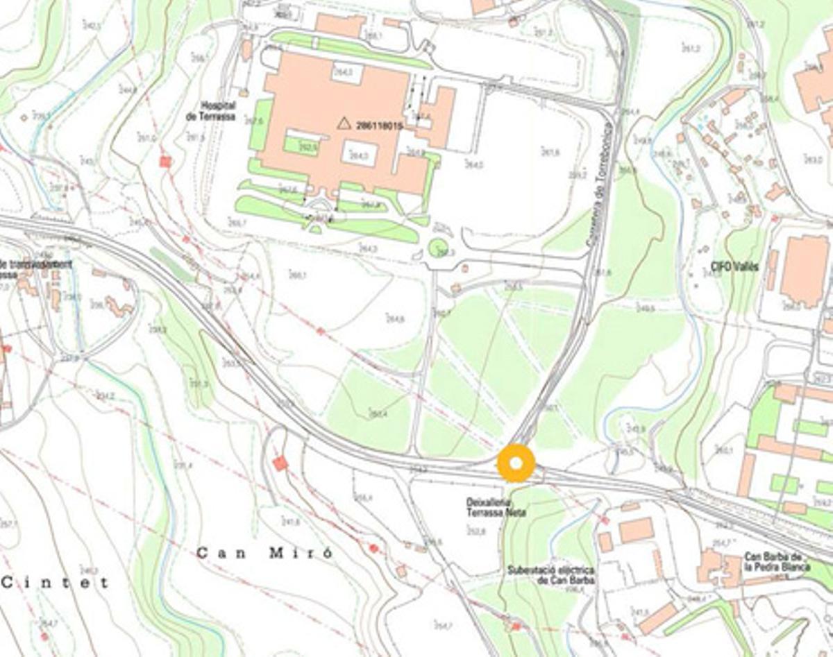 Plano con la configuración de la nueva rotonda de acceso al Hospital de Terrassa desde la N-150