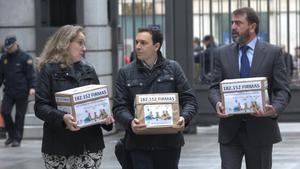 Eva Holgado, presidenta de laFederacion espanola de Familias Numerosas, junto a Luis Herrera y JoséAntonio Herrando, con las cajas que llevan 182.000 firmas.