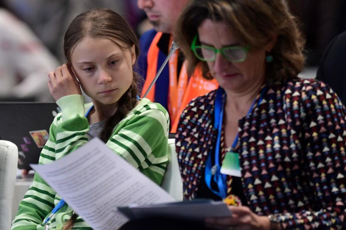 Teresa Ribera junto a la activista Greta Thunberg en la reciente Cumbre del Clima de Madrid.