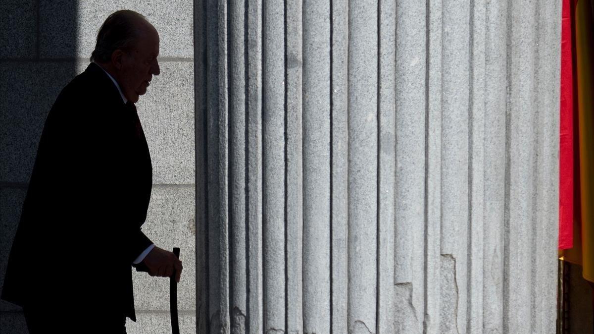 Juan Carlos I, en los actos del 40º aniversario de la Constitución, en diciembre del 2018.