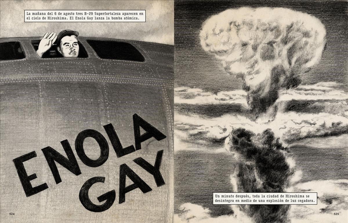 1945. El 6 de agosto en 'Enola Gay' lanza la bomba atómica sobre Hiroshima, causando la muerte al acto de 100.000 personas y poniendo punto final a la guerra.