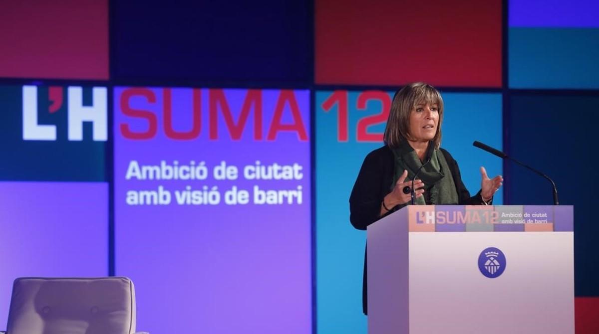 Núria Marín, durante su conferencia anual sobre L'Hospitalet.