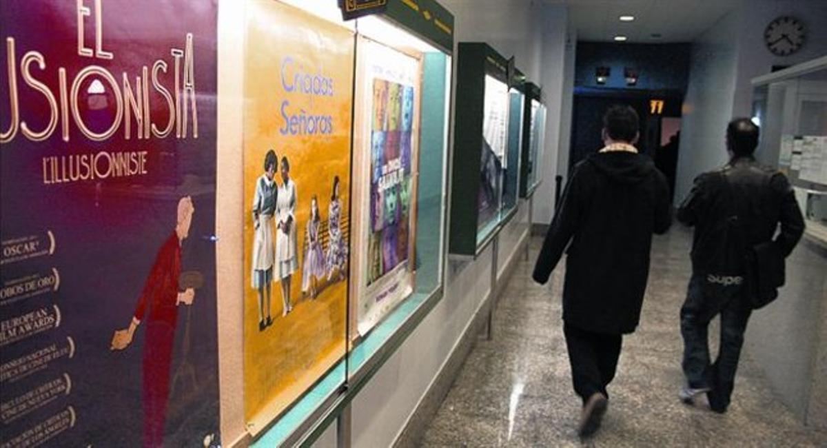 El vestíbulo de entrada a las dos salas de los cines Méliès, ayer por la tarde.