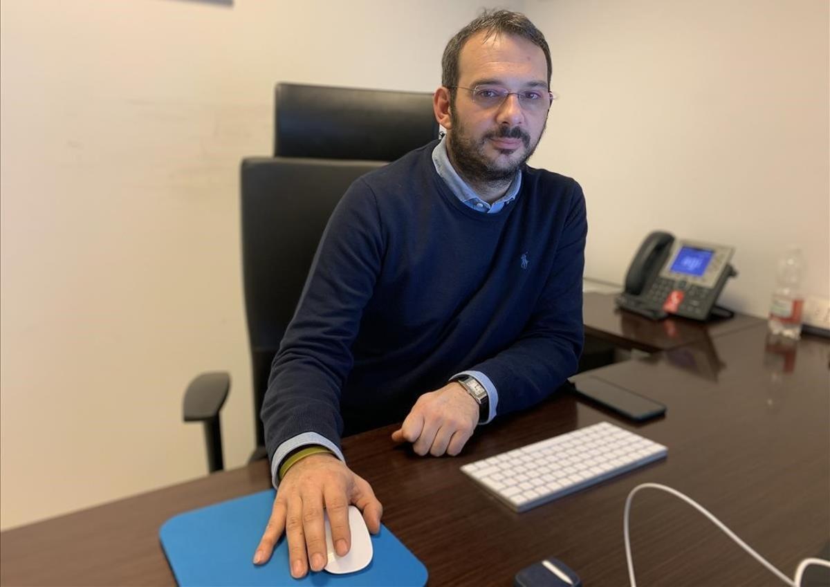 Paolo Borrometi, en su despacho de Roma.