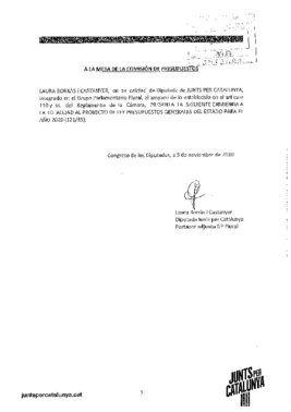 Enmienda de totalidad a los Presupuestos Generales del Estado de 2020 de Junts per Catalunya (JxCat)