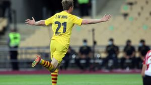 De Jong festeja su gol al Athletic en la final de Copa del Rey en Sevilla.