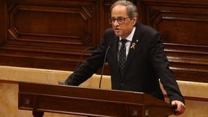 El 'president', Quim Torra, durante su intervención en la primera sesión del debate de política general, en el Parlament.