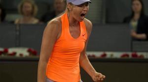 Sharapova, durante el partido contra Bouchard en Madrid.