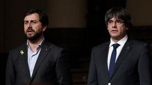 Toni Comín y Carles Puigdemont en Bruselas.