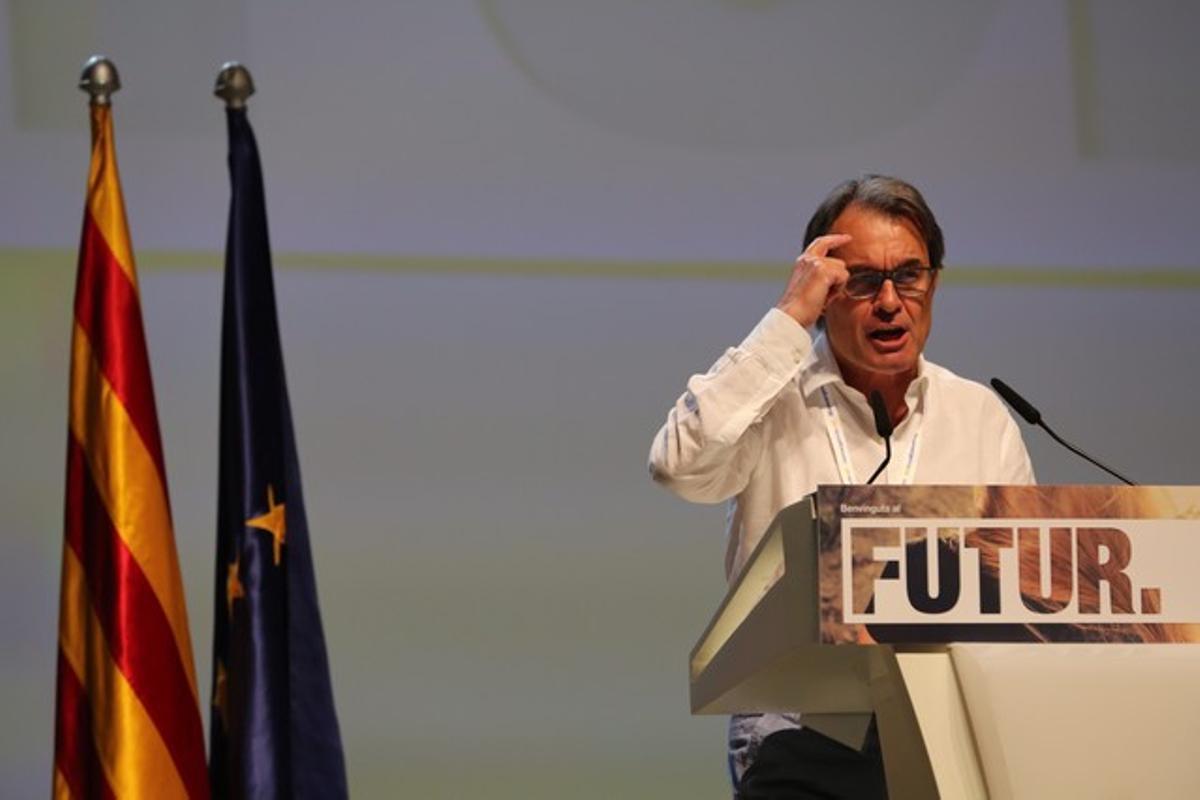 El 'president' Mas, en la clausura de la convención de CDC estes domingo, en Barcelona.