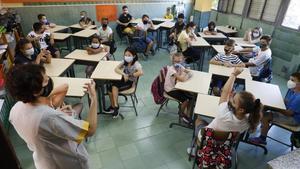 Interior de una aula centro escolar l'Esperança, Barcelona.