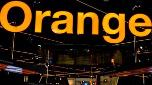 El logo de Orange en el estand de la operadora, en la última edición del Mobile World Congress de Barcelona.