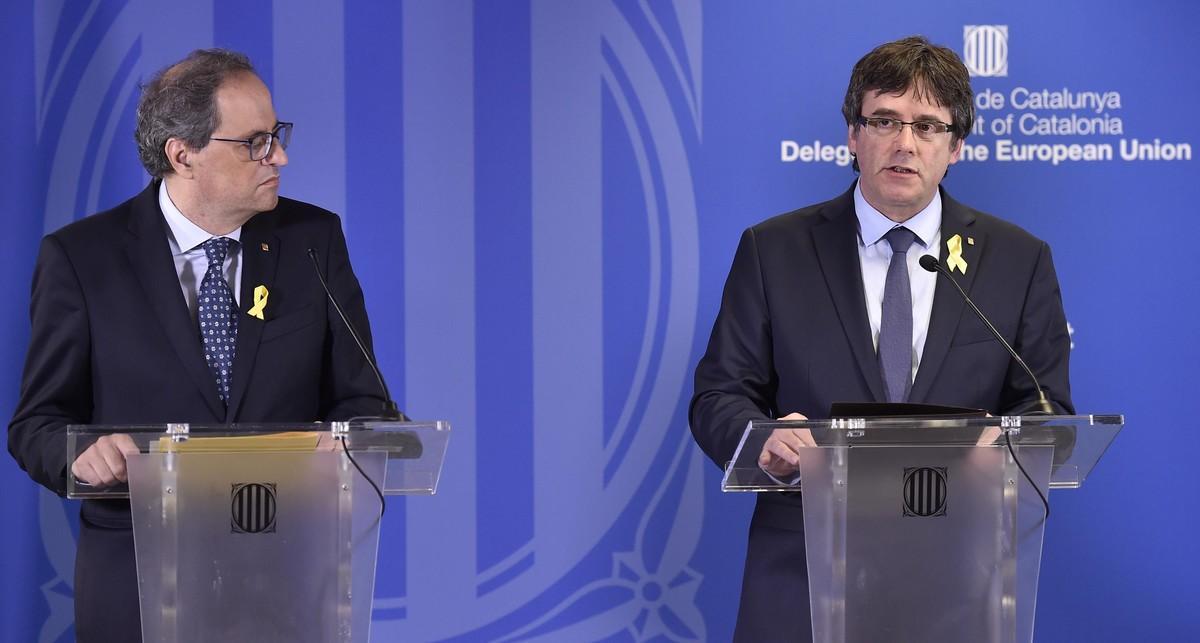 Quim Torra y Carles Puigdemont, en la rueda de prensa que dieron en Bruselas, el pasado 28 de julio.