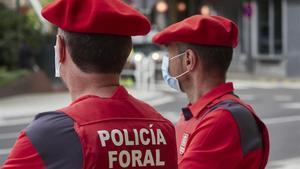 Agentes de la Policía Foral vigilan la entrada al Parlamento de Navarra.