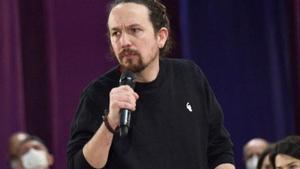 El candidato de Podemos a las elecciones de la Comunidad de Madrid, Pablo Iglesias, interviene durante la presentación de la candidatura de Unidas Podemos Comunidad de Madrid.